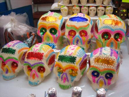 Sugar skulls, ready to be personalized with a name, at the Feria de Alfeñique in Toluca