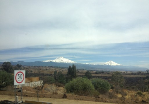 The volcanoes Itza and Popo, looking majestic on the bus ride to Puebla.