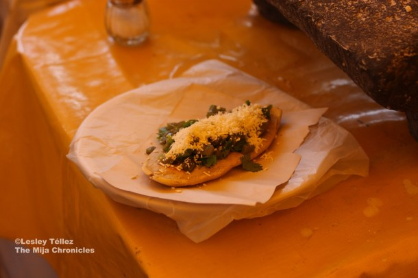 A tlacoyo from the same Corn & Nixtamal Fair.