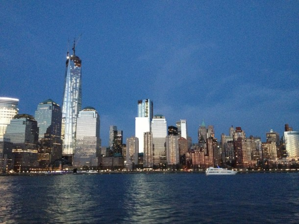 The New York City skyline at dusk, captured from the Hudson River in April 2013.