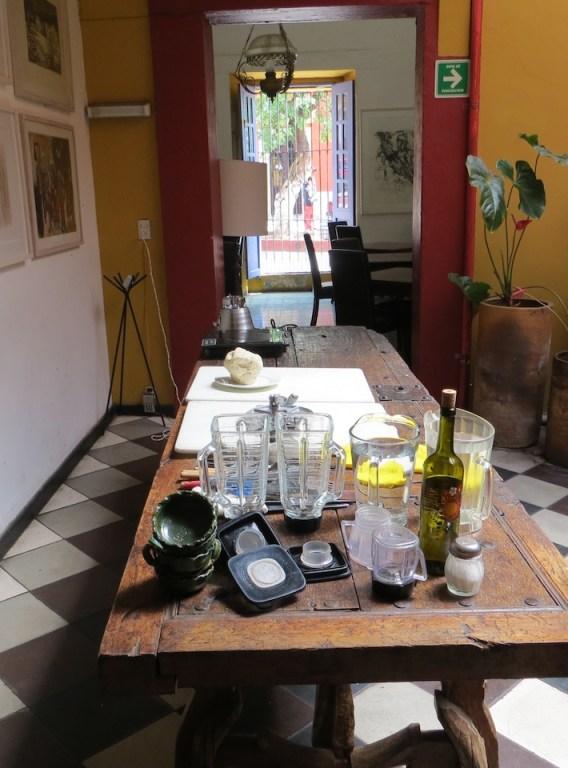 Casa Crespo's cooking class set-up in Oaxaca.