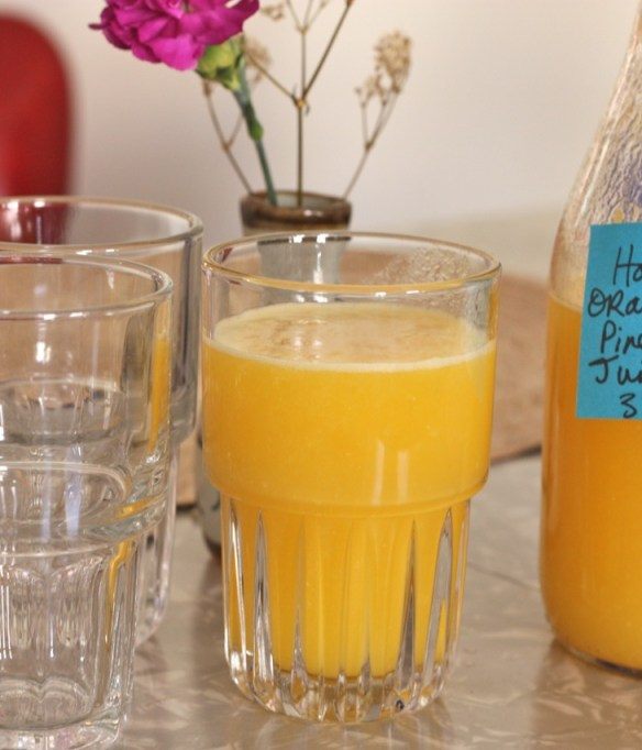 Homemade orange pineapple juice