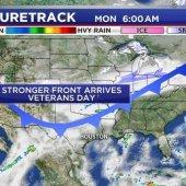 Un frente frío y fuerte se está moviendo a través del sureste de Texas trayendo vientos racheados, aire mucho más frío y algo de lluvia…