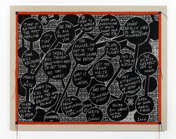 Lisa Anne Auerbach, Let the Dream Write Itself, 2014. Wool, 63 x 80 in. (160 x 203.2 cm) Collection of the artist and Gavlak Gallery, Palm Beach. Copyright Lisa Anne Auerbach. Photograph by Lisa Anne Auerbach.