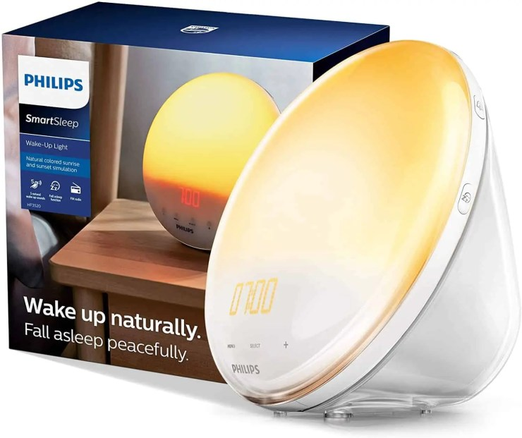 Philips SmartSleep Wake up Light Colored Sunrise and Sunset Simulation 5 Natural Sounds FM Radio Reading Lamp Tap Snooze HF352060