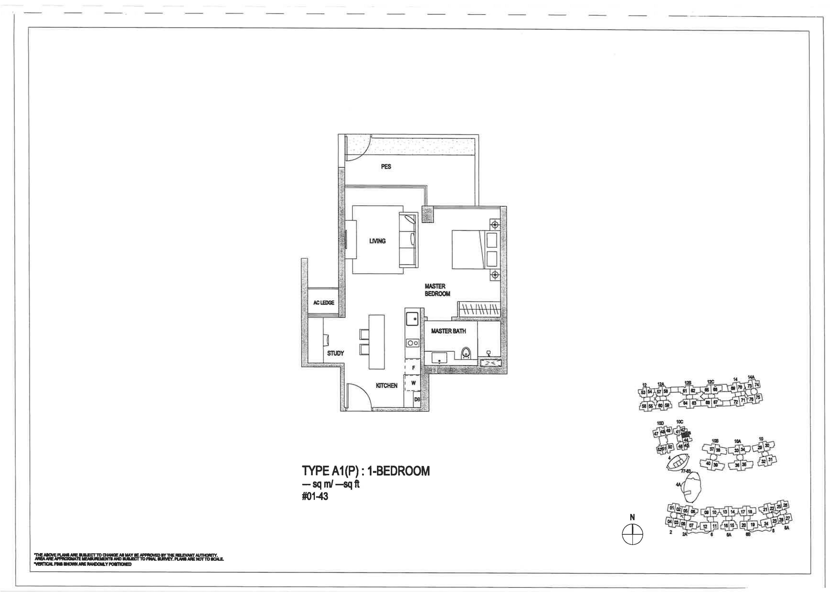 The Minton 1 Bedroom Floor Plans Type A1(P)