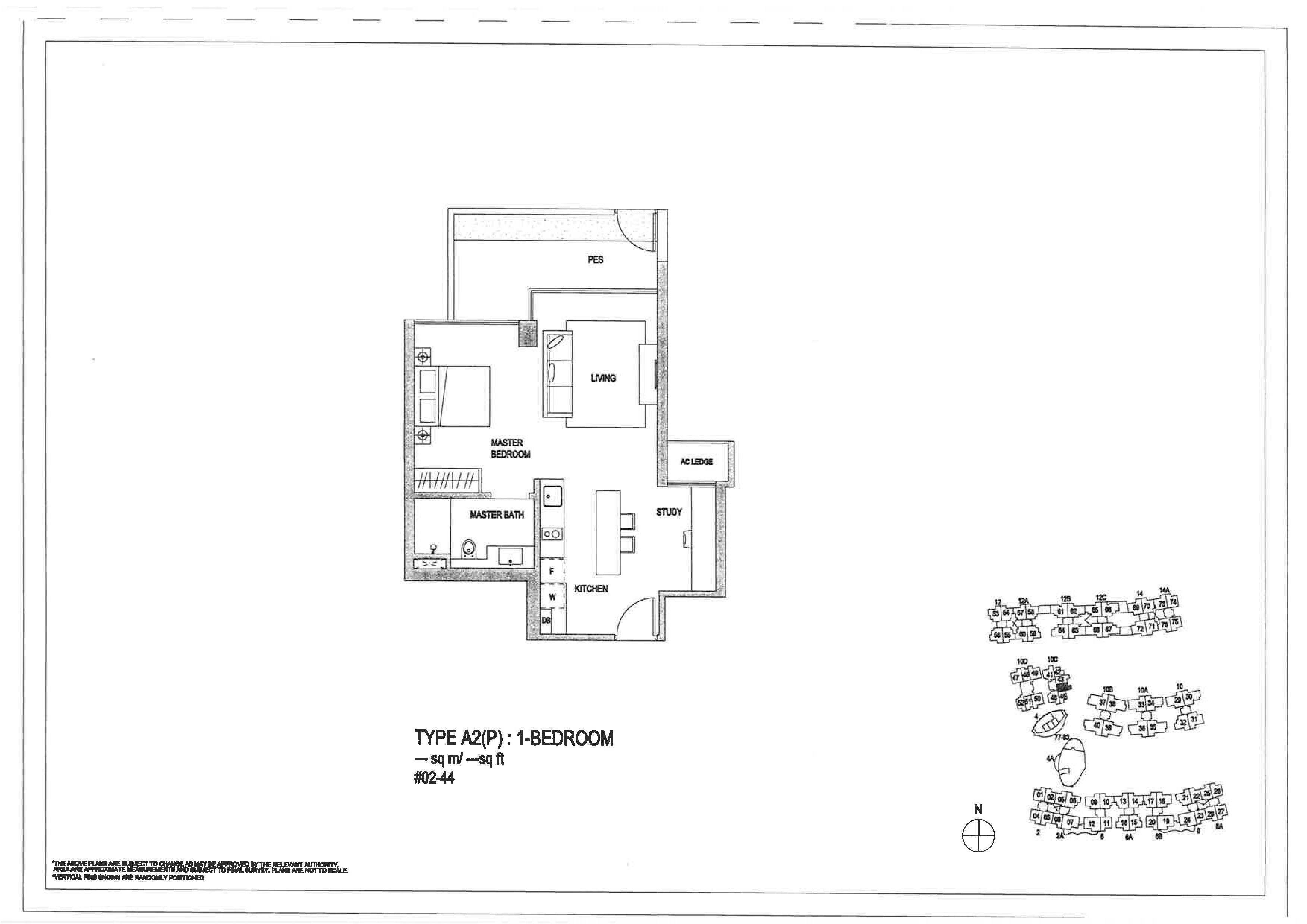 The Minton 1 Bedroom Floor Plans Type A2(P)