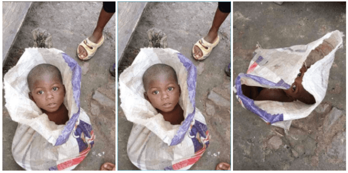 Police grab man who packaged his 3-year-old son inside a rice bag for sale