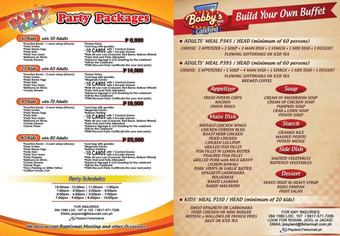playland fisher mall party package 2