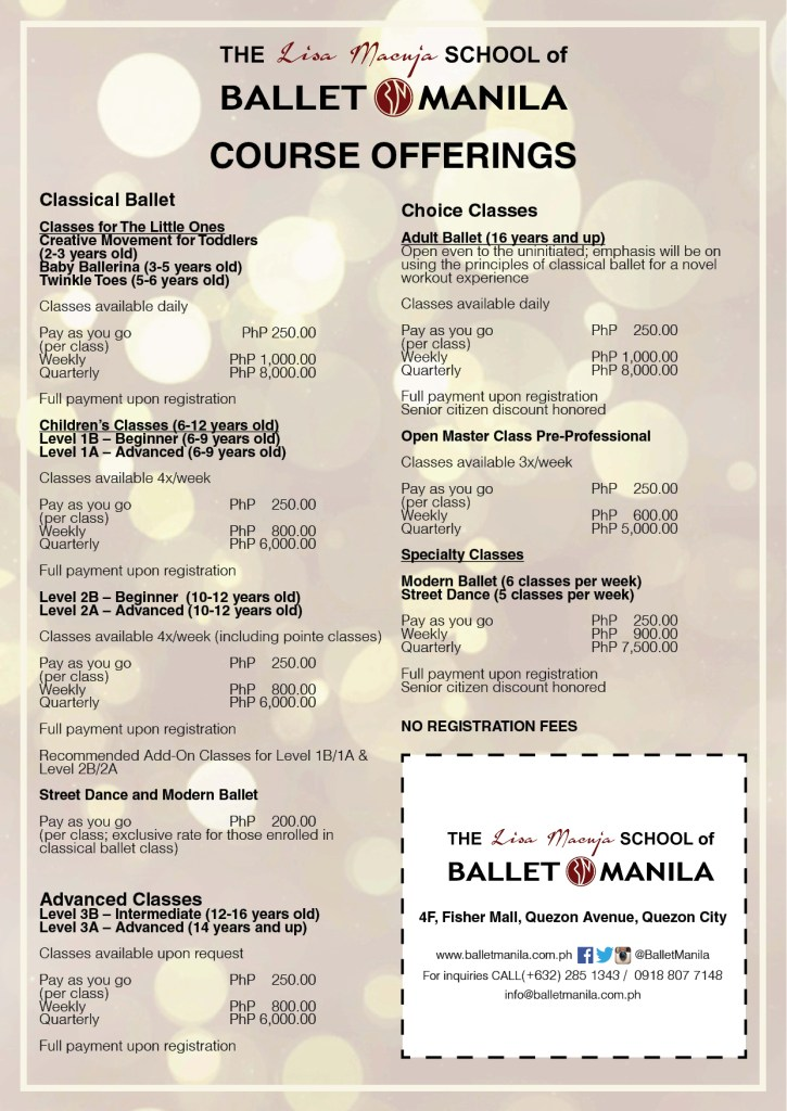ballet manila rates