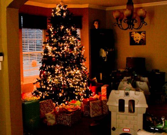 Half Lit Christmas Tree
