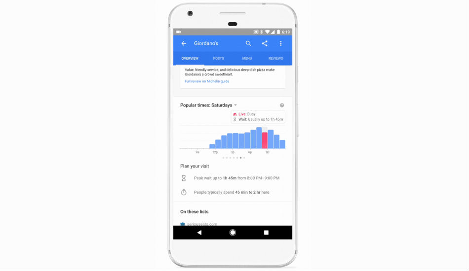 Google to soon provide restaurant wait times on Search and Maps