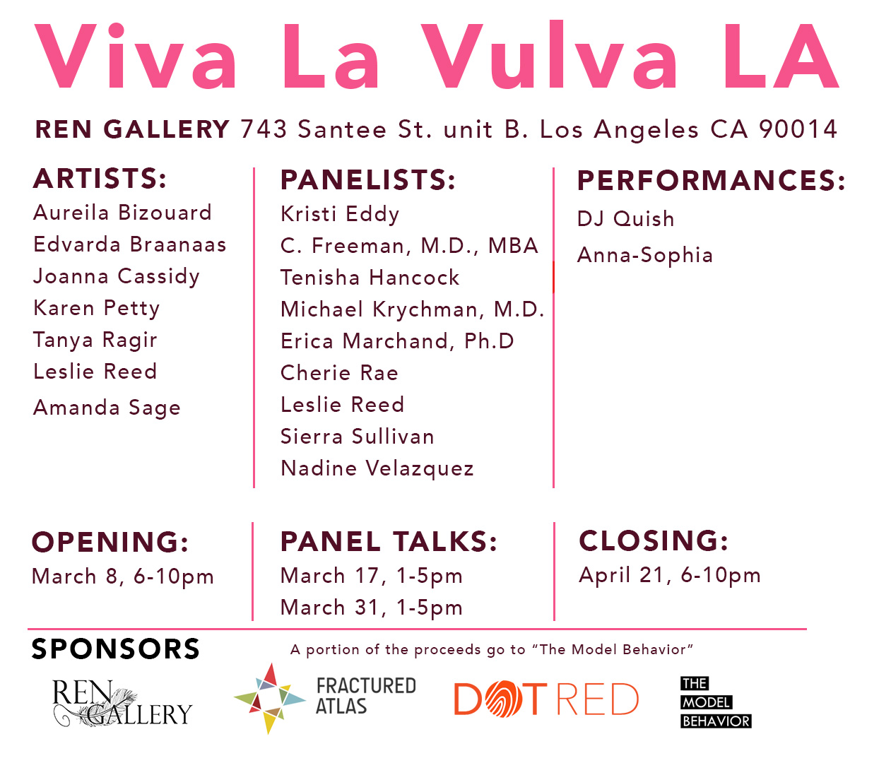 We are proud to be a part of the Viva La Vulva team to celebrate the women  of Los Angeles during March, Women's History Month.