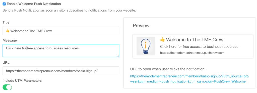 PushCrew Welcome Notification