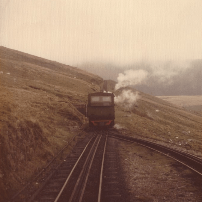 The train to the top of Mt. Snowdon, Wales. 1974.