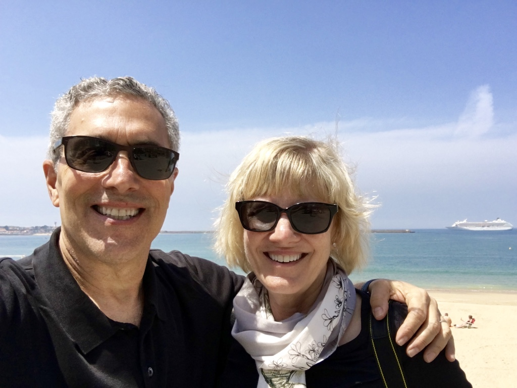 Our windswept selfie at the Saint-Jean-de-Luz beach, with the Crystal Symphony in the background!