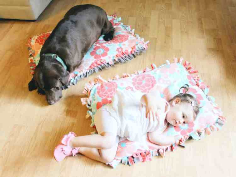 Are your dog and baby BFFs? You have to check out this adorable matching DIY No-Sew Dog Bed & Baby Floor Pillow. It is an easy tutorial for lots of fun for dogs and babies! Plus see how your pet can be a part of the @Gerber Baby Search as well this year! Dog DIY | Baby DIY | DIY Gift Ideas | #diydogbed #nosewdogbed @Purina @Target #GigglesandWiggles #ad