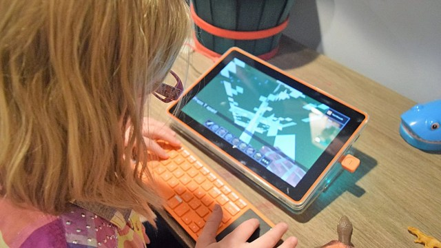 child using Kano Build your Own Tablet with coding features