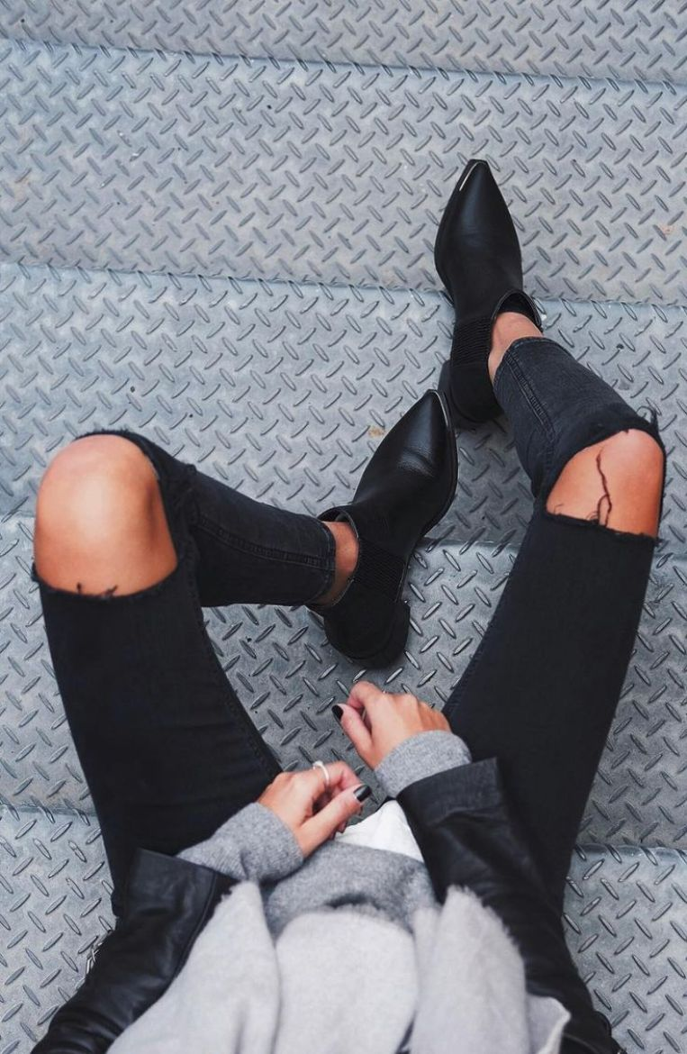 3x1 black distressed destroyed ripped skinny jeans and boots spring fashion blog