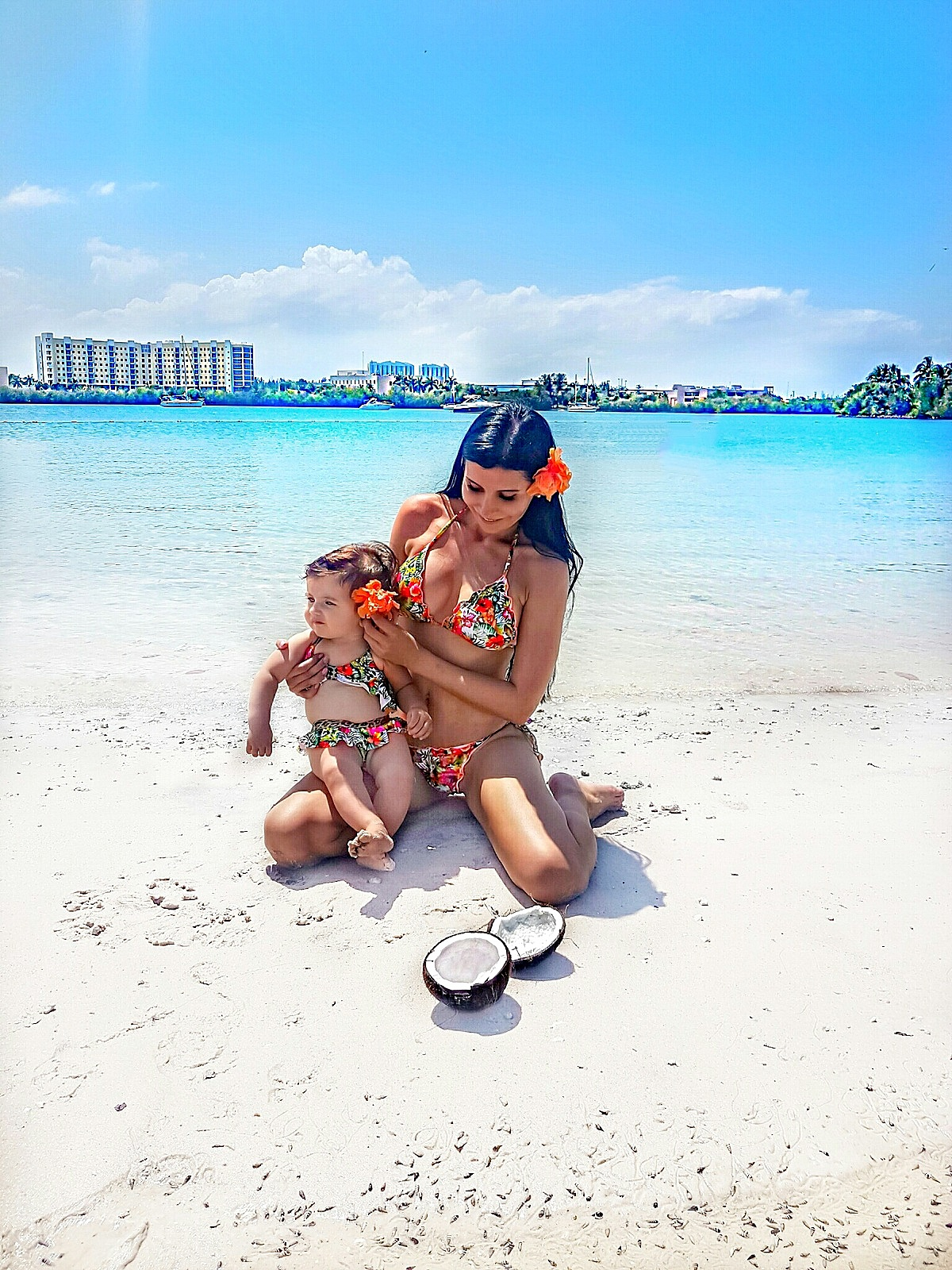 Mommy and me matching swimsuits PilyQ beach hawaiian style