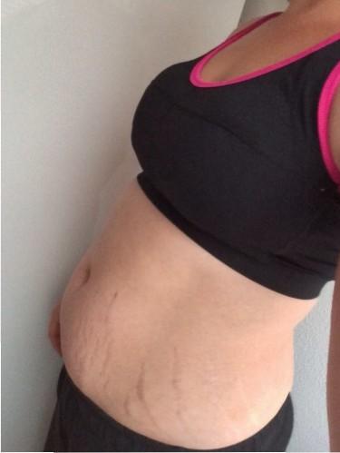 Mijn buik nu, 3 maanden na de bevalling.