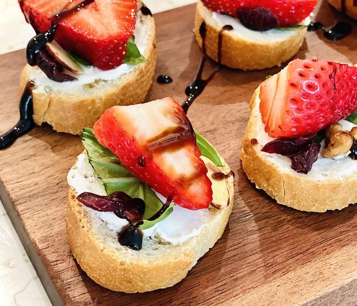Easy to Make Strawberry  and Goat Cheese Bruschetta Appetizer