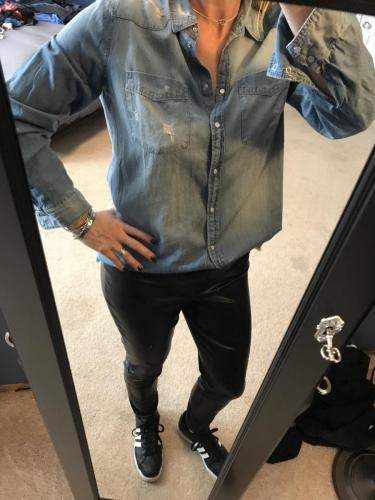 Leather pants with Distressed denim shirt from Express