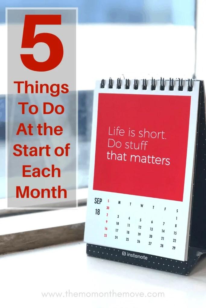 beginning of each month pinnable