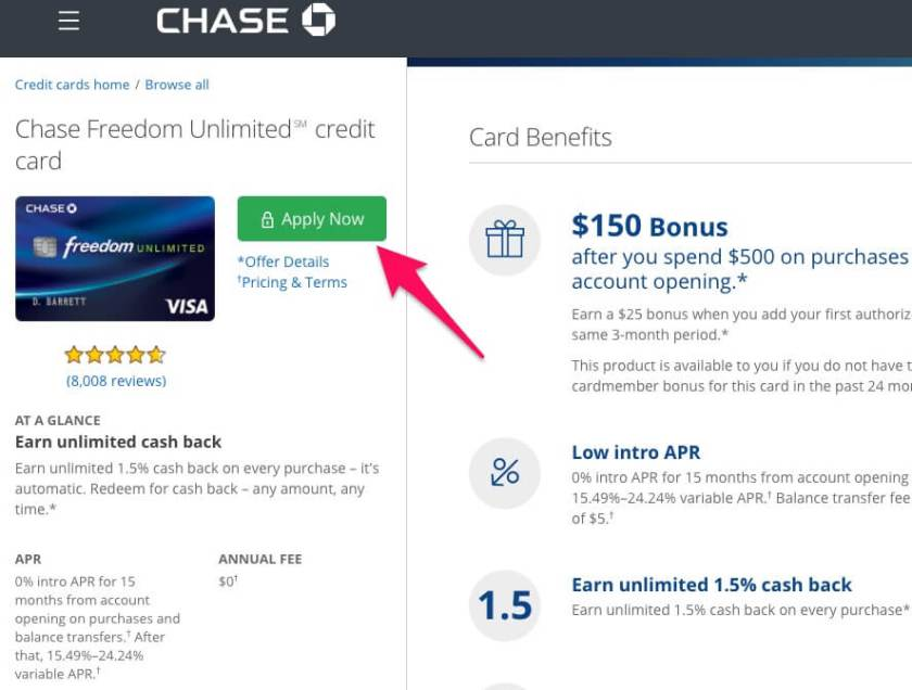 Applying for a Chase Freedom Unlimited card