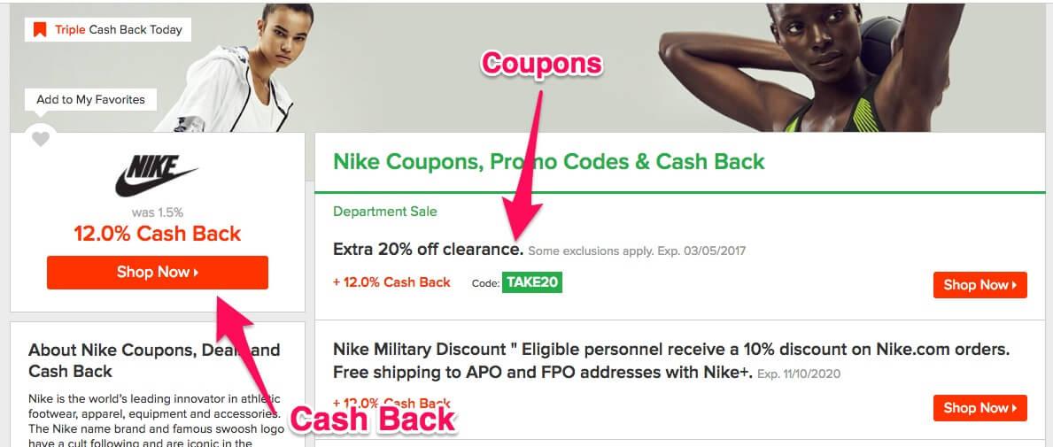 Ebates cash back for shopping at Nike