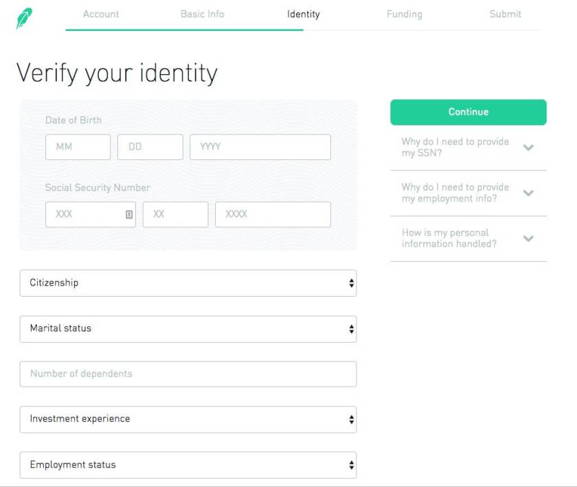 Verifying identity form to start an investment account