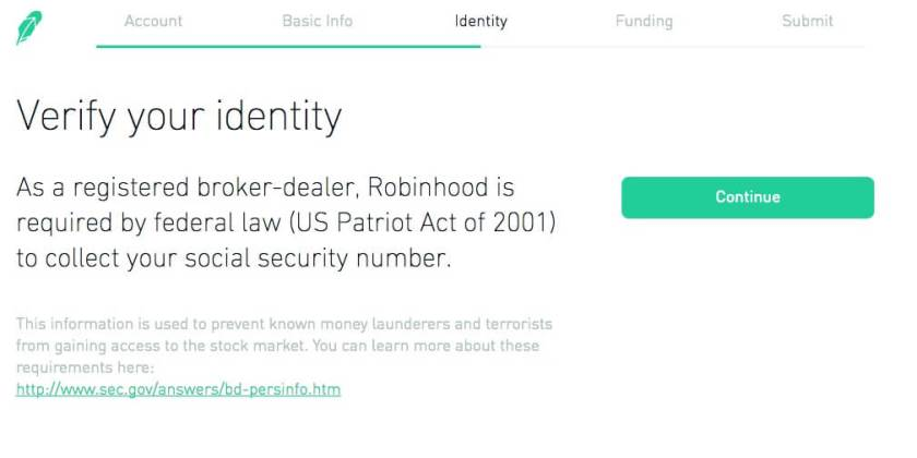 Verify identity to open an investment account