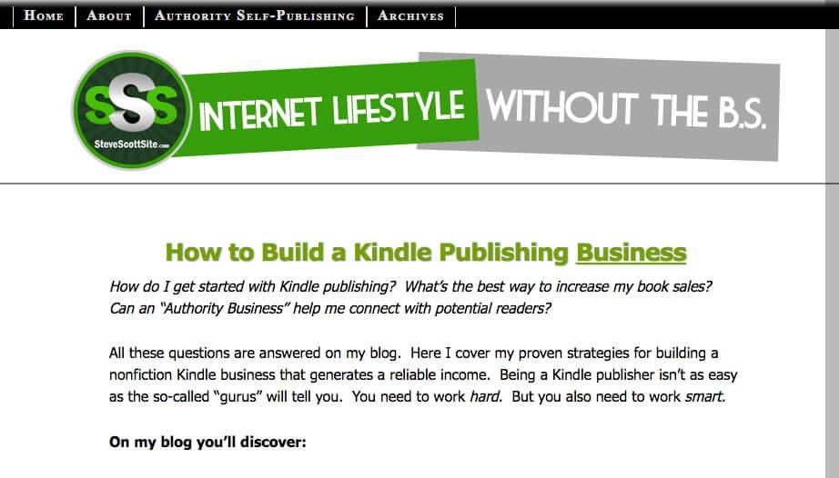 Site Web de Steve Scott pour promouvoir ses livres