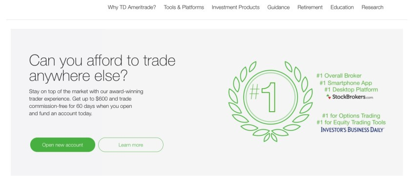 TD Ameritrade is one option for a trading investment tool
