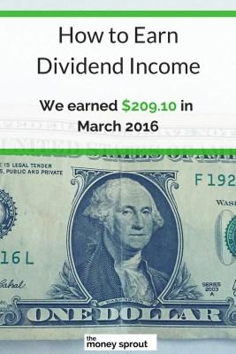March 2016 Dividend Income