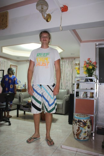 Jake at my Aunty's house - filo's are short people! Isabel, Leyte - 2009