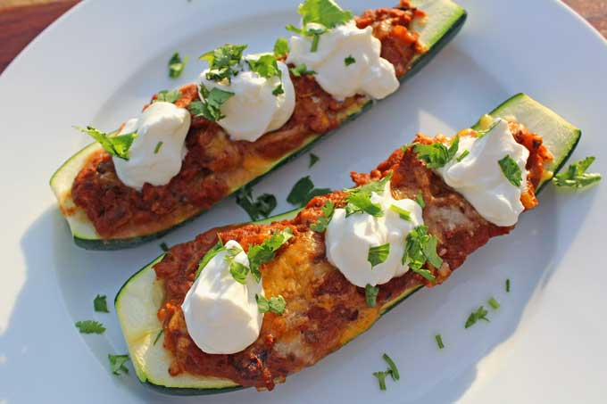 prepared meatless Mexican zucchini boats on plate