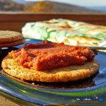 This sun-dried tomato pesto is blended with fresh basil, pine nuts, garlic, red wine and parmesan cheese. It's perfect for light Hors d'oeuvres! | TheMountainKitchen.com