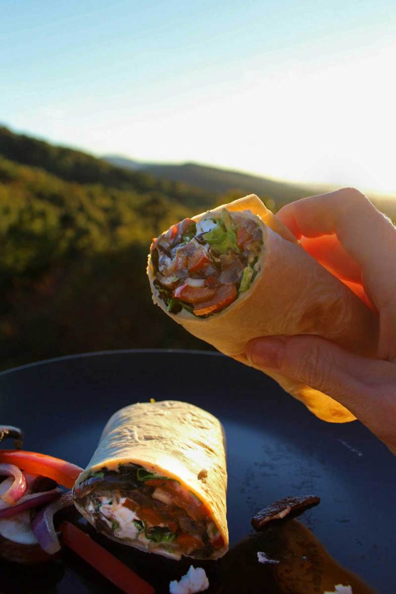 Quick, delicious and fresh, these veggie wraps with bell peppers, onions and mushrooms sautéed and tucked inside a wrap with lettuce hummus and goat cheese.