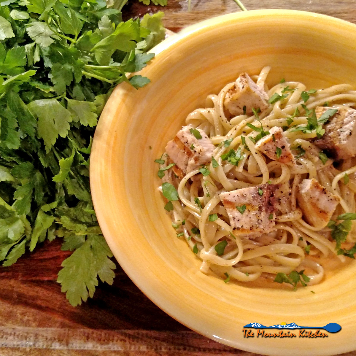 Linguine with Grilled Swordfish and Parsley Anchovy Sauce