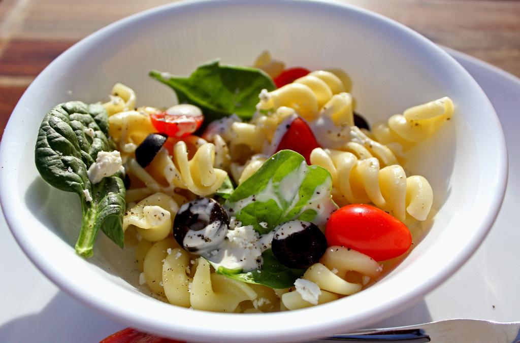 bowl of Mediterranean pasta