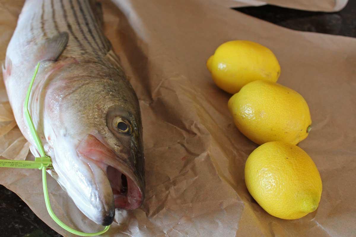 whole rockfish with lemons