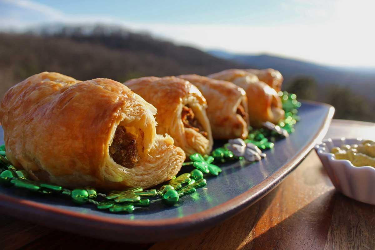 a platter of Irish Sausage Rolls