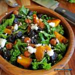 Butternut squash kale salad is a healthy vegetarian salad made of kale tossed with roasted butternut squash, crispy chickpeas, dried cherries, and feta.