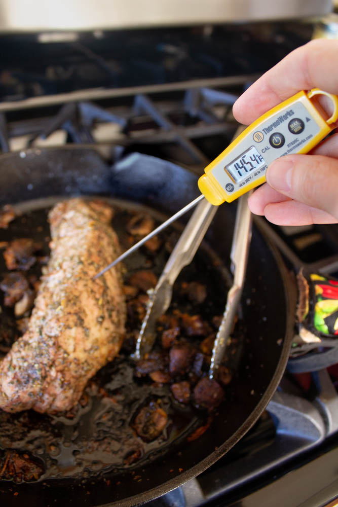 checking temperature with Thermoworks thermometer