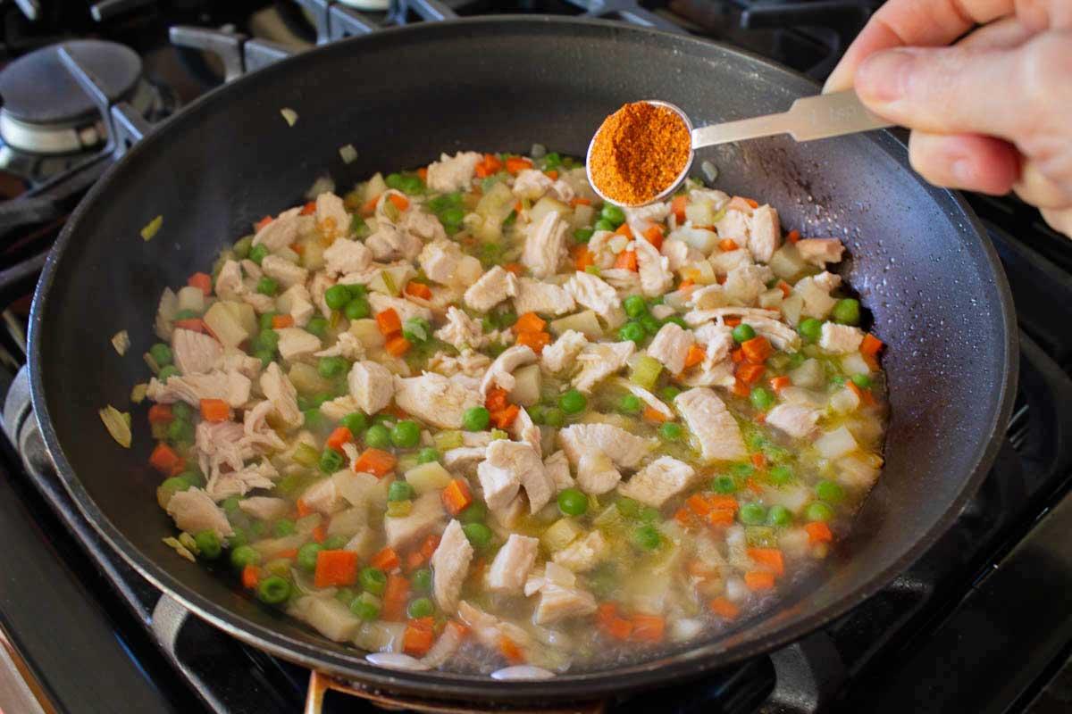 seasoning the vegetables