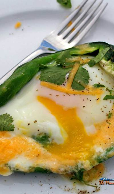 Egg Stuffed Poblano Pepper Boats {A Meatless Monday Recipe