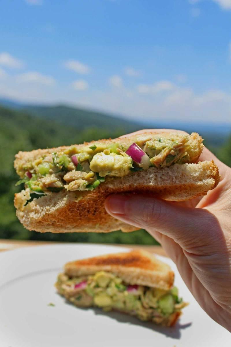 avocado tuna salad sandwich in had
