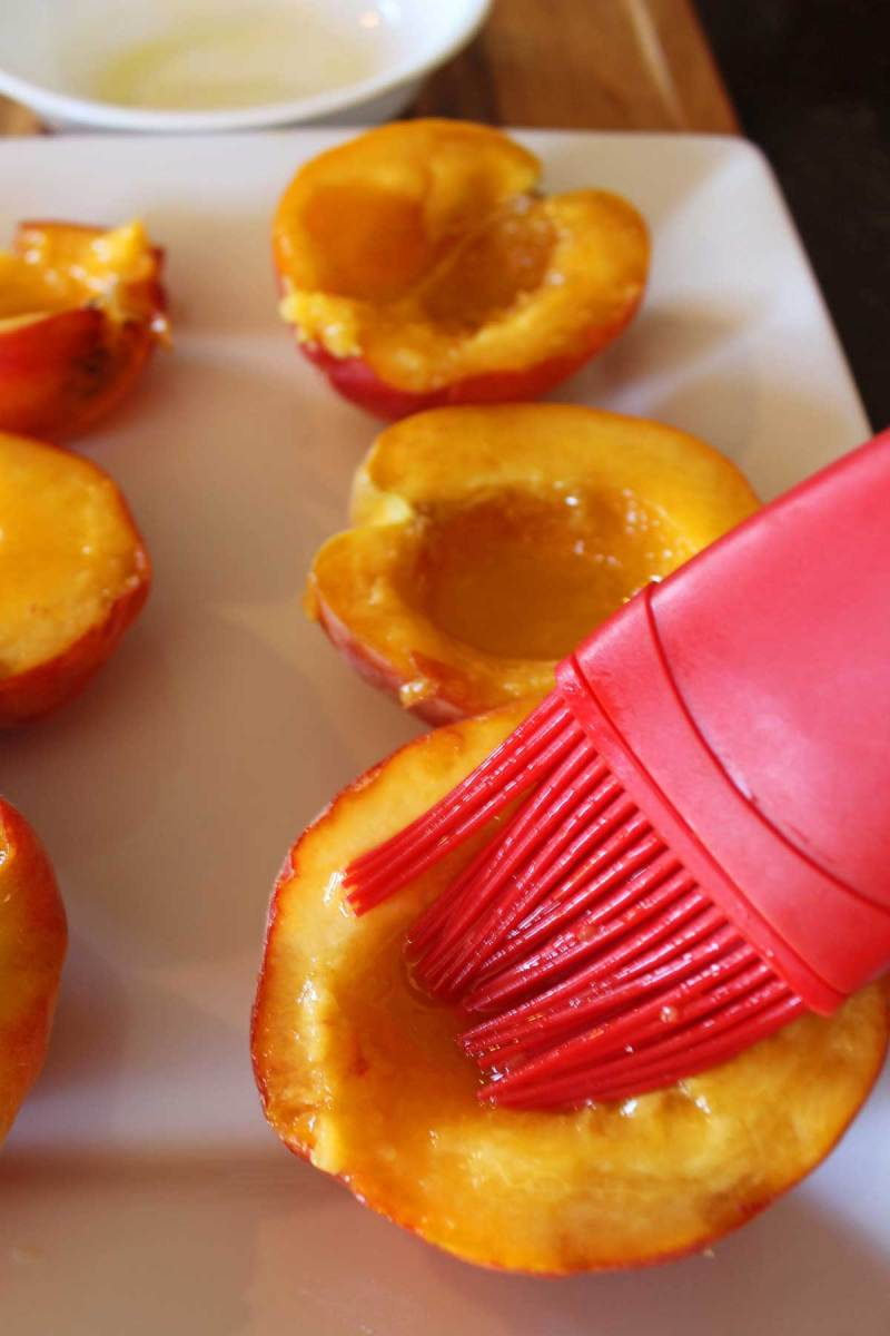 brushing peaches with oil