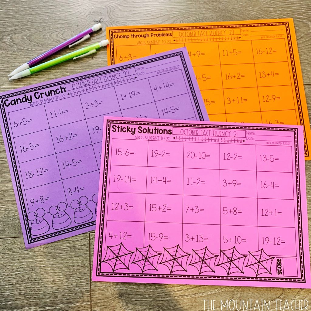 Addition And Subtraction Math Fact Fluency To 20